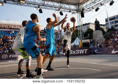 DEBRECEN - SEPTEMBER 8 : FIBA 3X3 BASKETBALL WORLD TOUR MASTERS - PLAYER MARKO ZDERO SUB ZERO - STREETBALL IN THE CENTER SQUARE SEPTEMBER 8 2016 DEBRECEN HUNGARIYA