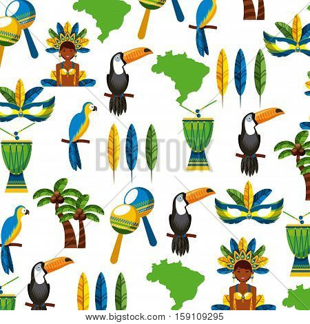background of brazilian culture icons. colorful design. vector illustration