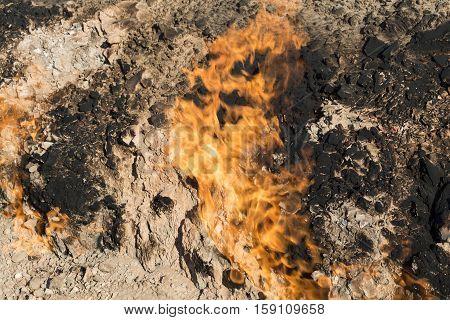 Burning mountain in Yanar Dag. Azerbaijan. Fire