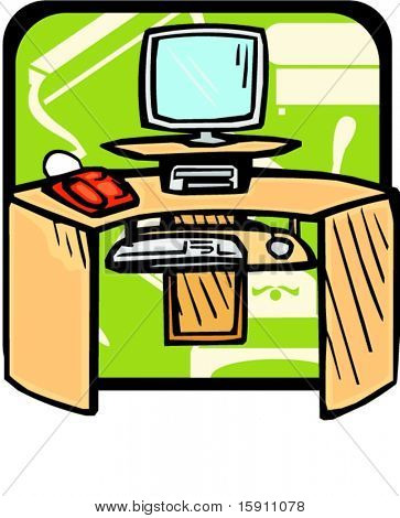 Computer desk.Pantone colors.Vector illustration