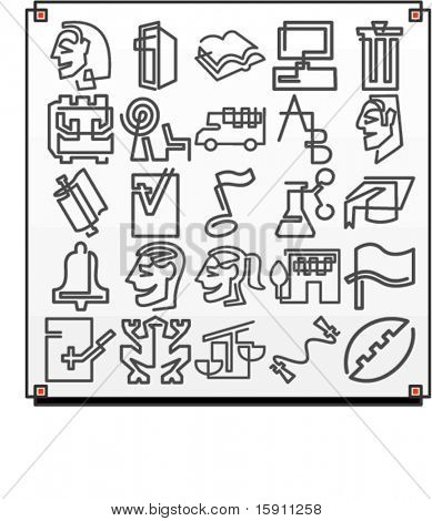 A set of 25 vector icons of university objects, where each icon is drawn with a single meandering line.