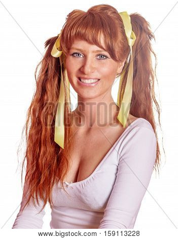 Redhead Woman With Ponytails