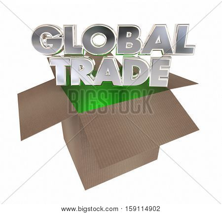 Global Trade Cardboard Box Goods International Exports 3d Illustration