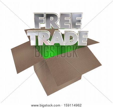 Free Trade International Commerce Boxes Shipments 3d Illustration