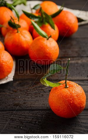 Fresh tangerine clementine with leaves on dark wooden background, selective focus, vertical.