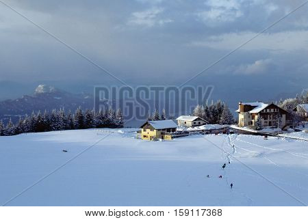 Snowed Mountains And Bourget Lake In Le Sire. France
