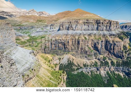 Sight of Monte Perdido and Ordesa's valley in the spanish national park Ordesa and Monte Perdido Pyrenees