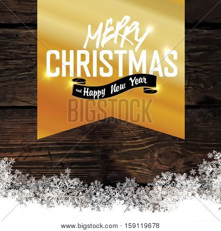Merry Christmas! Golden Greeting Tag on Wooden Background. Snowflakes border isolated by downside. Easy to use in design projects for holiday, as is postcard, invitations, covers, posters.