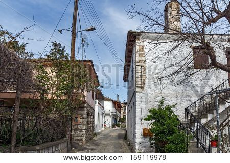 Street in the village of Theologos,Thassos island, East Macedonia and Thrace, Greece