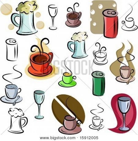 A set of vector icons of drinks in color, and black and white renderings.