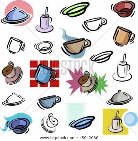 A set of vector icons of cups and dishes in color, and black and white renderings.