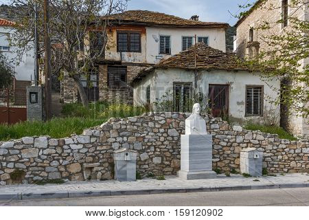 Old houses in the central street  in the village of heologos,Thassos island, East Macedonia and Thrace, Greece