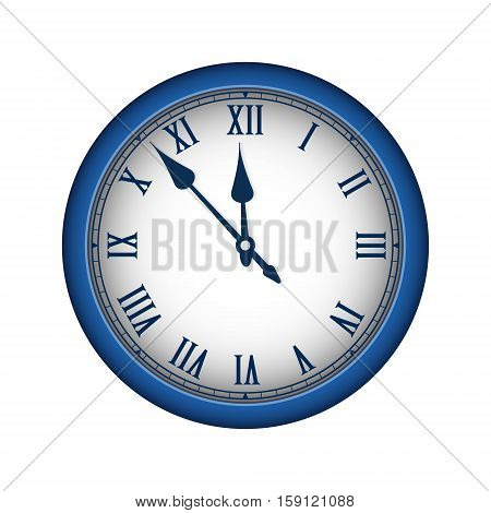 Blue Realistic Vintage Clock Isolated On White. Vector Illustration