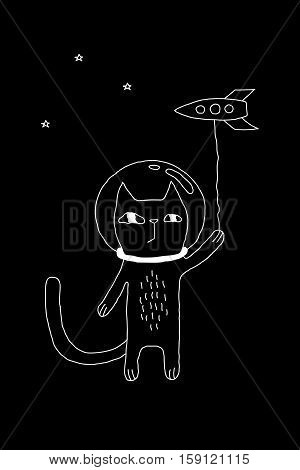 Outline cartoon cat illustration with space cat and a rocket. Cute vector black and white cat illustration. Monochrome doodle cat illustration for prints, posters, t-shirts, covers, flyers and cards.