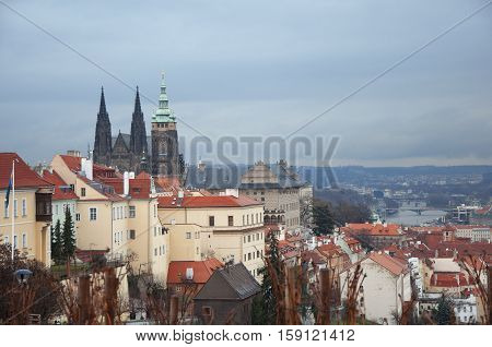 View of Prague city from hill in winter