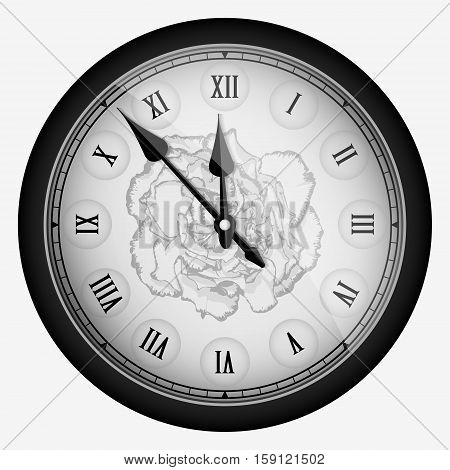 Black Realistic Vintage Clock With Carnation Flower Isolated On White. Vector Illustration