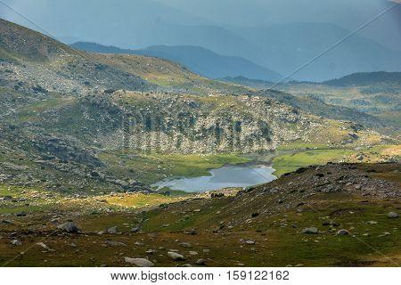 Amazing Landscape to Rocky scree and Spanopolsko Lake, Pirin Mountain, Bulgaria