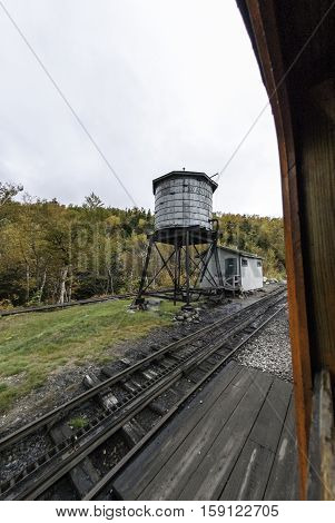 New Hampshire USA - September 30 2009: Water tank supplies Cog Railway engines for climb to summit