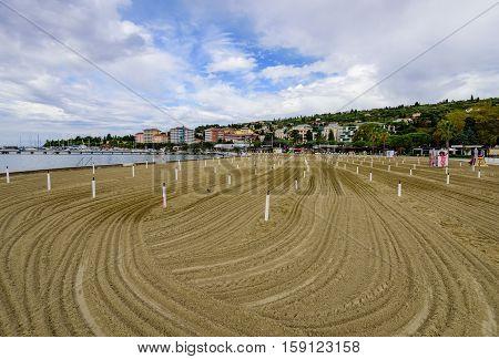 Portoroz, Slovenia - September 20, 2016: the city beach in the resort of Portoroz, Istria.