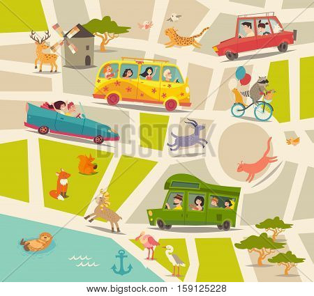 Cartoon map vector. Happy people family with children cute animals birds river road cars bus and park. Abstract street map. Map cartoon illustration with traffic
