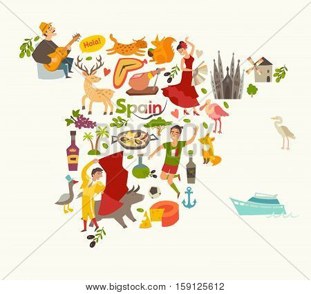 Spain map vector contour. Illustrated map of Spain for children/kid. Cartoon abstract atlas of Spain with landmark: flamenco guitar sangria paella bullfight and jamon
