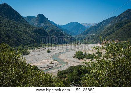 Scenic Mountain  Landscape With Krikeliotis River At Evritania, Greece
