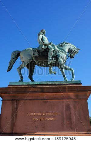 Statue of Norwegian King Karl Johan XIV in front the Royal Palace Oslo