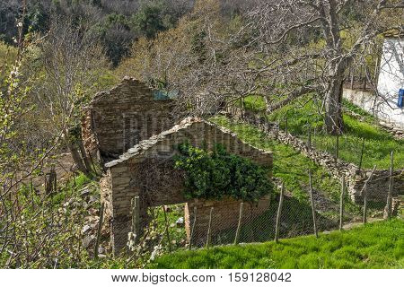 Ruins of Old house in village of Maries, Thassos island, East Macedonia and Thrace, Greece
