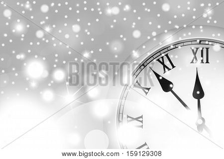 New Year And Christmas Concept With Vintage Clock In White Style. Vector Illustration