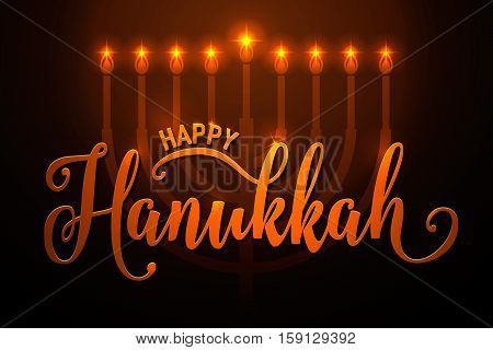 Vector illustration of happy Hanukkah gold greeting card. Happy Hanukkah lettering text sign. Golden Hanukkah background with candlestick with nine shiny candles