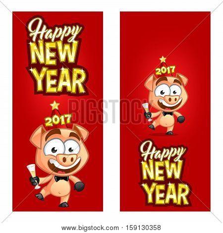 Sympathetic little pig celebrating the new year