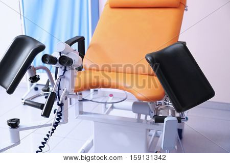 Gynecological room with chair and equipment