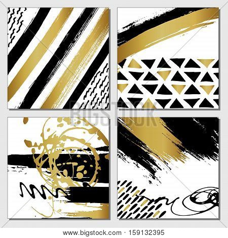 Creative fashion glamour hand drawn calligraphic card set. Vector collection of black white gold textured cards. Beautiful posters with geometric shapes