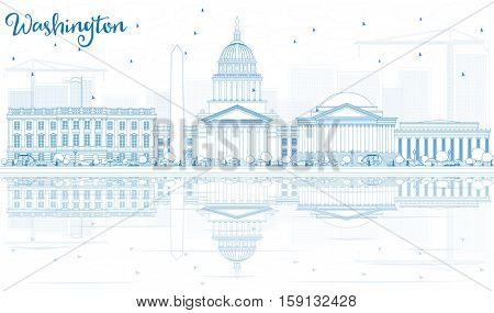 Outline Washington DC Skyline with Blue Buildings and Reflections. Business Travel and Tourism Concept with Historic Architecture. Image for Presentation Banner Placard and Web Site.