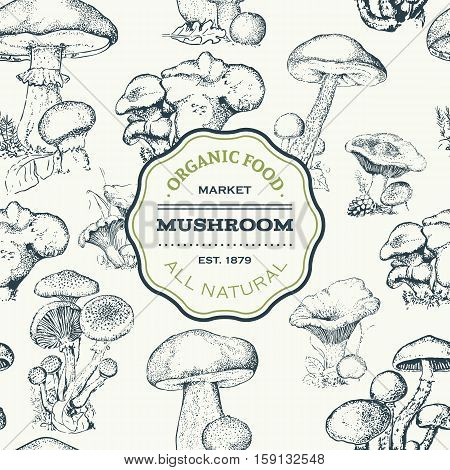 Hand-drawn seamless pattern of the different mushrooms. Repeated natural background with mushrooms. vector illustration for your design.