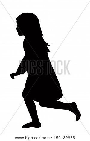 a running girl black color silhouette vector