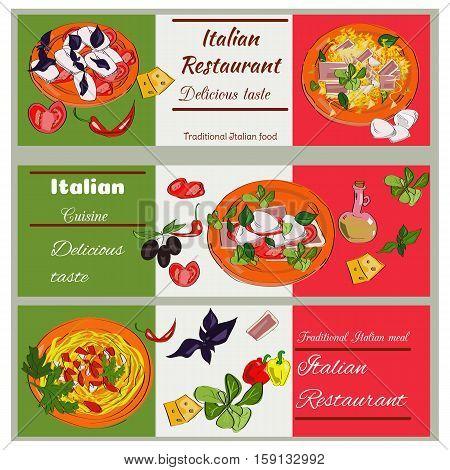 Italian Food Vintage Design Template. Horizontal Vector Banners Set. Italian Cuisine Restaurant Menu