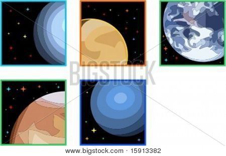 A set of 5 vector illustrations of planets.