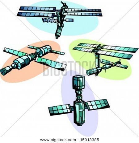 A set of 4 vector illustrations of space stations.