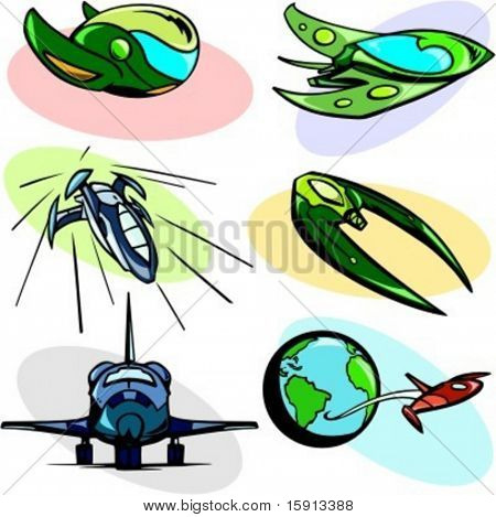 A set of 6 vector illustrations of alien spaceships and shuttles.