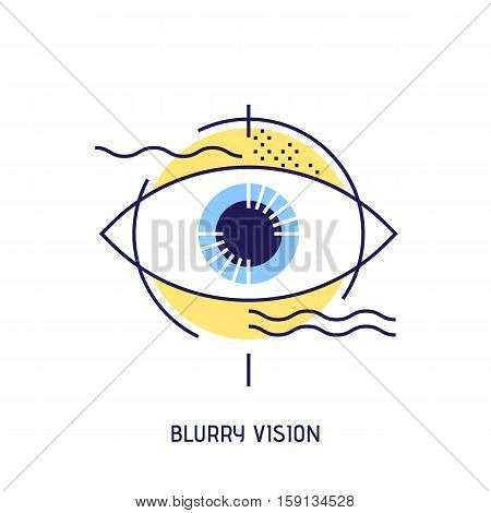 Modern thin line icons of blurry vision. Ophthalmology concept of bad view. Premium quality outline sign. Stock vector illustration in flat design.