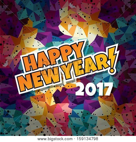 happy new year text show sunrays retro theme vector