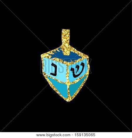 Chanukah sevivon. Gold. Doodle, zentangle, sketch, draw hand. Jewish religious holiday of Hanukkah. Hebrew letters. Coloring. Vector illustration.