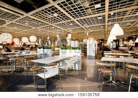 KATOWICE, POLAND - AUG 4, 2014: Interior of the dining room in cafe of the huge international IKEA store on August 4, 2014. Katowice lies within an urban zone with a population of 2746460