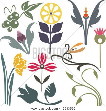 A set of 10 vector floral design elements.