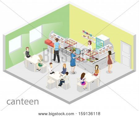 Isometric Flat 3D Vector Interior Of A Coffee Shop Or Canteen. People Sit At The Table And Eating.