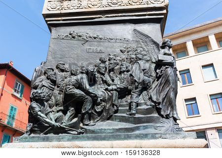 Relief At The Socle Of The Garibaldi Statue