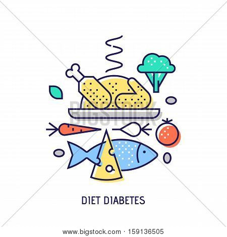 Diet diabets icon. Diabetes vector thin line icon. Premium quality outline sign. Stock vector illustration in flat design.