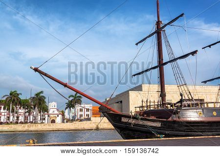 CARTAGENA COLOMBIA - MAY 22: Wooden galleon named the Buccaneer in Cartagena Colombia on May 22 2016