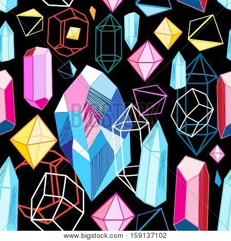 Vector pattern of multi-colored crystals on a black background